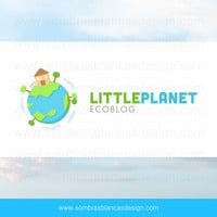 OOAK Premade Logo Design - Little Planet - Perfect for a children ecology blog or an environment related NGO