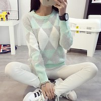 Brand Woman Sweater Pullover Autumn Winter Fashion Casual O-Neck Long sleeve Argyle Candy Pullovers Pull Femme Sweter Mujer