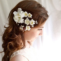 white cherry blossom hair clip  EARTH ANGEL  by thehoneycomb