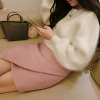 Rabbit Fur Cashmere Sweater Women Sweaters and pullovers  Mink fur Cashmere Knitted Pullover ladies sweater