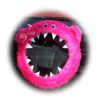 Barbie Pink fuzzy Monster car steering wheel cover with Pink Bow