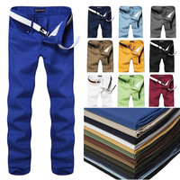 2016 High Quality 10 Colors Men Pants Slim Fit Casual Pants Fashion Straight Men's Pants Skinny Smooth  Trousers