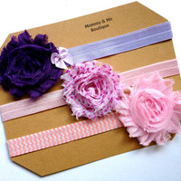 Three Pack Baby Shabby Headbands -- Pinks and Purples, Chevron Elastic, Shabby Flowers, for baby girls, toddlers, teens, adults