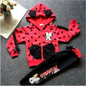 Minnie Mouse Winter Children's Wear Cotton Casual Tracksuits