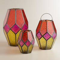 Warm Multicolor Hanging Hurricane Lantern