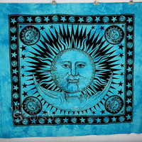 Sun Hippie Tapestry, Turquoise Sun Moon Hippie Tapestry, Indian Bedspread Throw Hippie Wall Hanging, Bohemian Cotton Coverlet Ethnic Decor