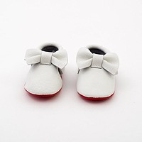 Baby Bow Leather Moccasins White/Red