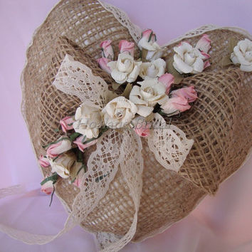 Burlap Ring Pillow with Ivory and Pink paper roses
