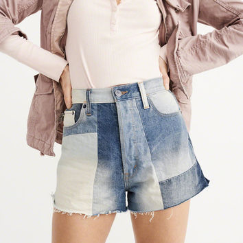 Womens High-Rise Patchwork Shorts   Womens New Arrivals   Abercrombie.com