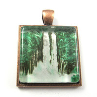 Postage Stamp Pendant of Waterfall, from Vintage, in Glass Tile Square
