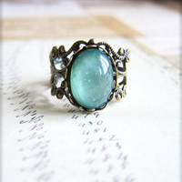 Lord of the Rings Inspired Blue Mint Green Ring Antique Brass Ring Vintage Filigree Ring Cameo Ring Cabochon Ring - Gondorian