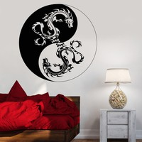 Vinyl Wall Decal Yin Yang Dragons Buddhism Religion Symbol Stickers Unique Gift (855ig)