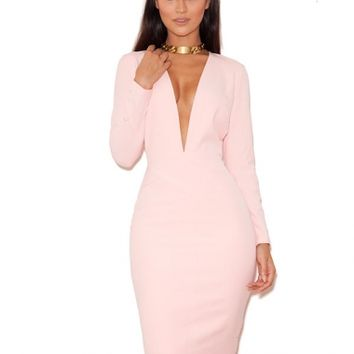 Clothing : Pencil Dresses : 'Dominique' Pale Pink Long Sleeved Deep V Pencil Dress