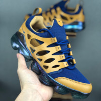 HCXX 19June 1062 Nike Air Vapormax 2019 Hollow Breathable Leather Knit Running Shoes blue yellow