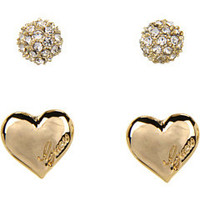 GUESS Pave Ball and Heart Duo Stud Set
