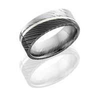 Damascus Steel 8mm Wide Wedding Band with 1mm Angled Sterling Silver Strip