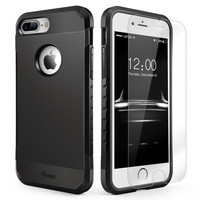 iPhone 7 Plus Case Shockproof, Slim Anti-Scratch Protective Kit with [Tempered G