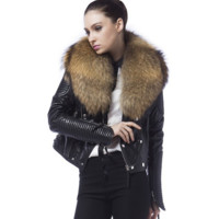 Danny Joe Black Leather Fur Collar Jacket