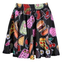 ZLYC Women Girls Lovely Cute Snacks Food Novelty Print Skater Skirt Black