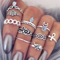 10Pcs Vintage Boho & Elephant Ring Set