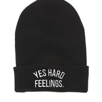 Young & Reckless Yes Hard Feelings Beanie - Womens Hat - Black - One