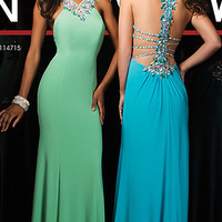 Sparkling Long Beaded Prom Gown by Tony Bowls