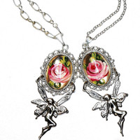 Romantic Fairy Rose Necklace Hand Painted Boho Chic Victorian Jewelry FREE SHIPPING