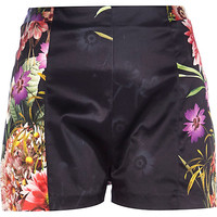 River Island Womens Black floral high waisted placement shorts