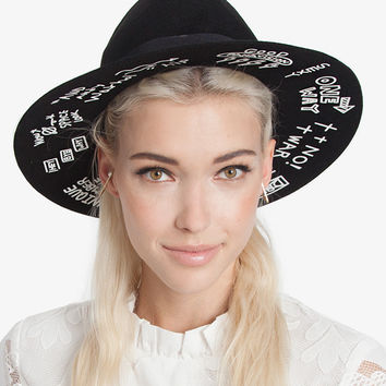 More than Words Black Wide Brim Hat