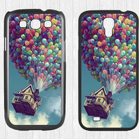Up balloons Samsung Galaxy S3 S4 Case,clouds houses Galaxy S3 S4 Hard Case,Flying moving houses cover skin Case for Galaxy S3 S4,More styles