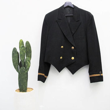 Vintage Mens Sailor Jacket 1940s Blazer Uniform Black Army Military Blazer Tuxedo Jacket Formal Suit Jacket Gold Ribbon Embroidered