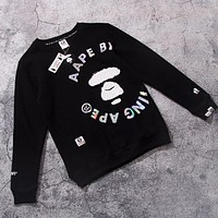 Bape Aape New fashion letter print couple long sleeve top sweater Black