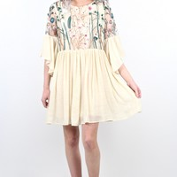 Mesh Have Embroidery + Ruffle Sleeve Dress {Natural}