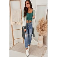 Listen To Your Heart Dip Dye Cardigan (Sage Carbon)