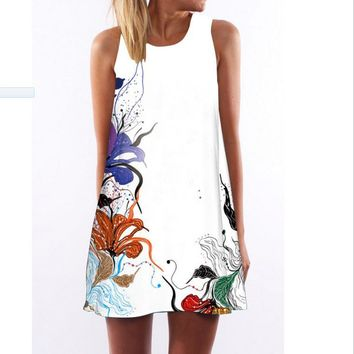 Sleeveless Hot Sale Print Round-neck One Piece Dress [2070459842614]