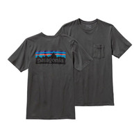Patagonia Men's P-6 Logo Cotton Pocket T-Shirt- Forge Grey