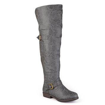 Journee Collection Women's 'Kane' Regular and Wide-calf Studded Over-the-knee Inside Pocket Buckle B | Overstock.com Shopping - The Best Deals on Boots