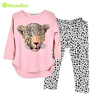 Children Clothing 2019 Autumn Spring Girls Clothes Set T-Shirt+Leopard Pants 2pcs Outfit Kids Girls Sport Suit 5 6 7 8 9 10 Year