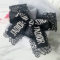 Dior hollow lace ribbon double big bow hair ring punk head rope