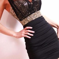 Sexy Slim Clubwear Bling Sequins voile backless Mini dress from Fanewant