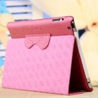 New Arrival Sweet Hello Kitty Cute Pu Leather Case Flip Case for Apple Ipad 2 Ipad 3 Ipad 4 With Stand Pink