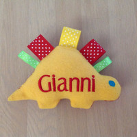 Personalized Dinosaur Softie Stuffed Toy in Sensory Colors