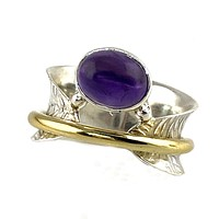 Amethyst Three Tone Sterling Silver Bridge Spinner Ring