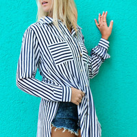 Rosemary Waves Navy Striped Button Down Nautical Top