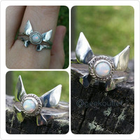 Sterling Silver Legend of Zelda Inspired Navi Fairy Ring with Genuine Opal