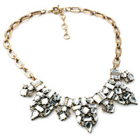 Women Fashion Adjustable Clasp Faux Stone Bib Necklace