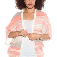 Soft and Sweet Plus Size Knit Open Front Cardigan - Peach