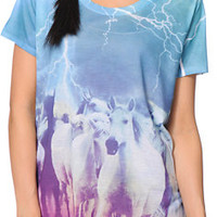 A-Lab Women's Milly Horses Teal Sublimated Tee Shirt