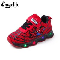 Spiderman Kids Led With Lights  Children Toddler Baby Girl Sneaker