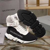 Balenciaga Speed Trainers Black/ White With White Sole Unit Sneakers - Best Deal Online
